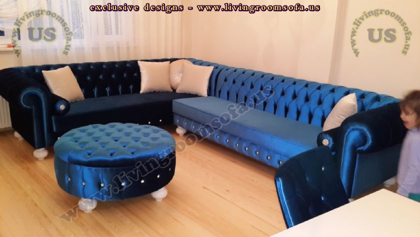 blue velvet chesterfield sofa l shaped