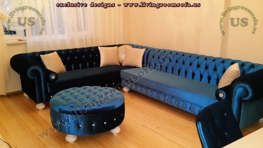 blue velvet new design chesterfield sofa