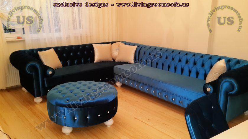 blue velvet new design chesterfield sofa