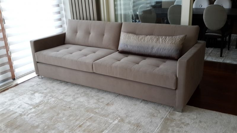brown fabric living room sofa