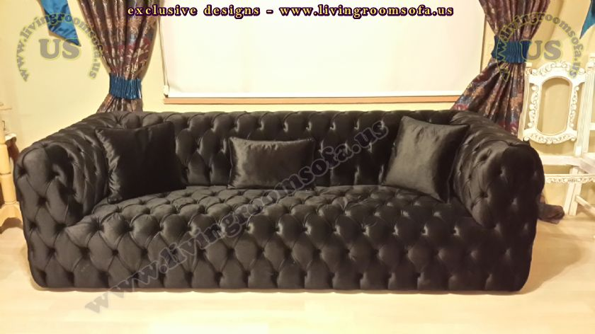 Black Fabric Modern Chesterfield Style Sofa Interior Design