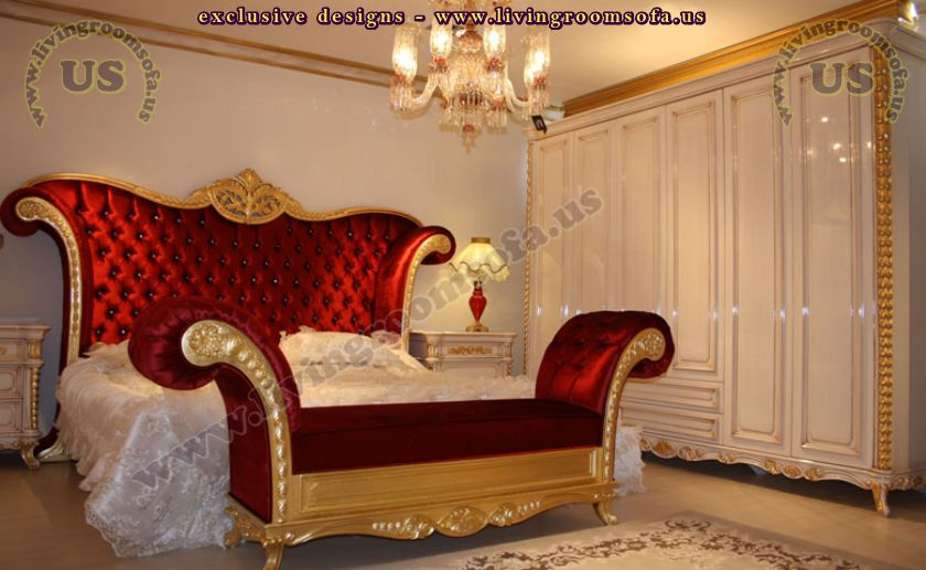 classic and fantastic bedroom with classic bench