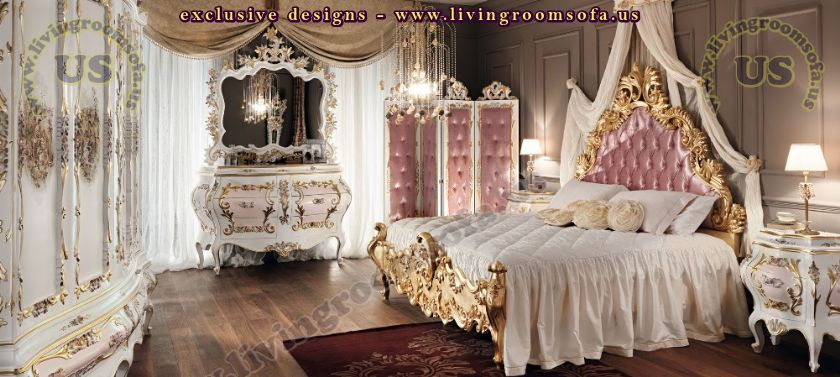 classic bedroom furniture gold leaf carved
