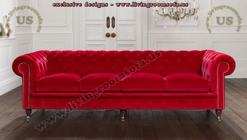 classic chesterfield sofa red velvet