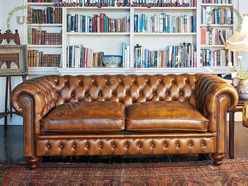 classic leather chesterfield sofa design idea