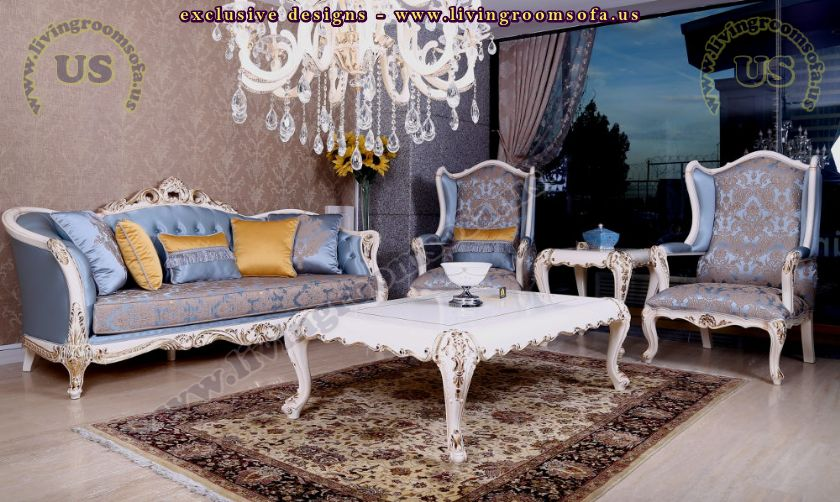 classic sofa set design blue and white