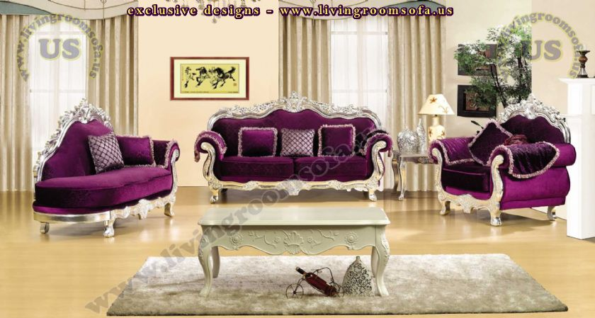 Perfect Classical Maroon Sofa Set Living Room Design