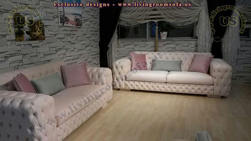 couple modern chesterfield sofas usa design
