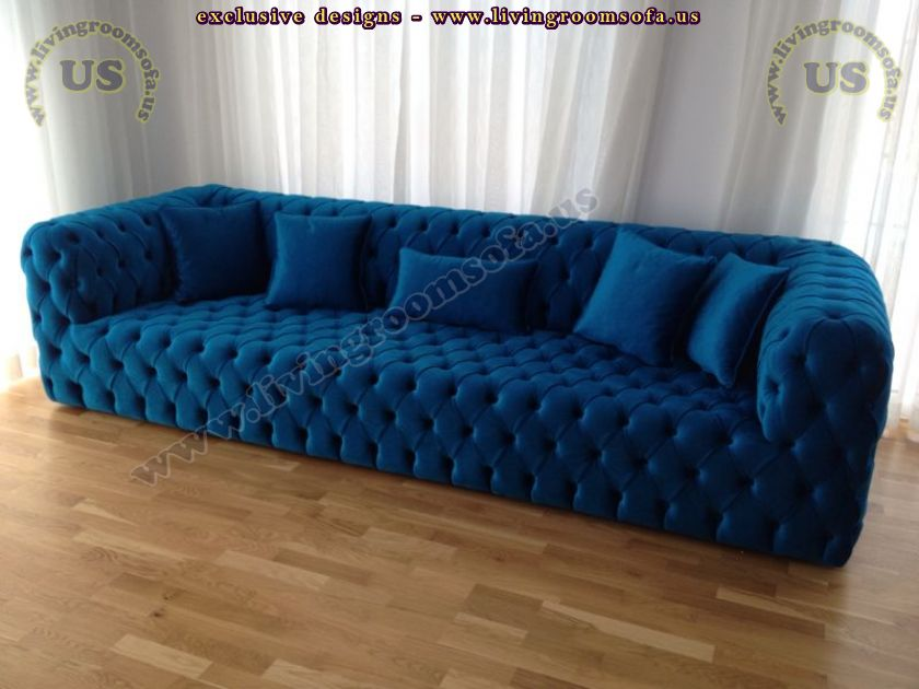 decorative blue fabric couch quilted design