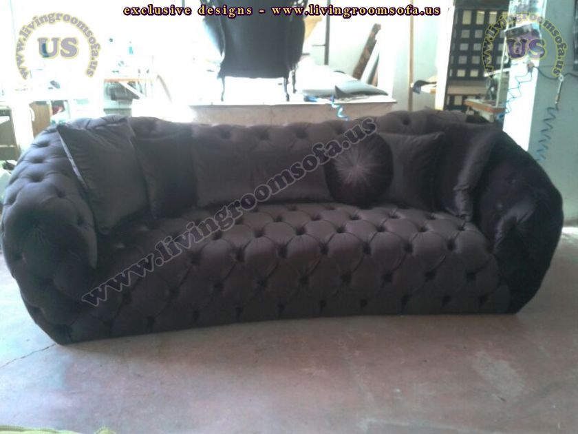 decorative couch velvet black