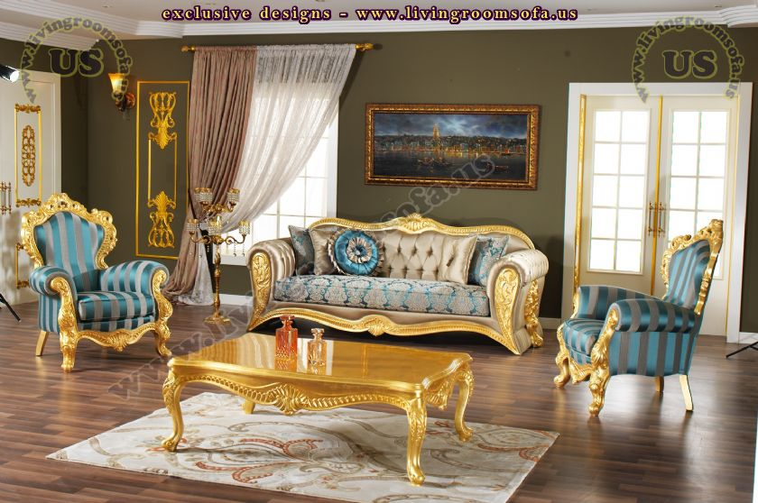 golden classical living room sofa set design