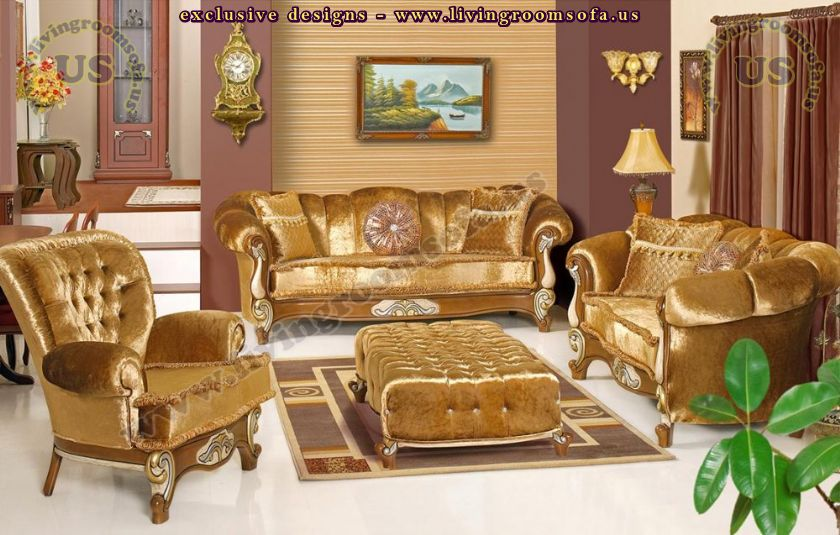 golden fabric classic sofa set living room design