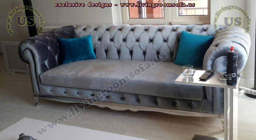 gray velvet classic chesterfield couch design