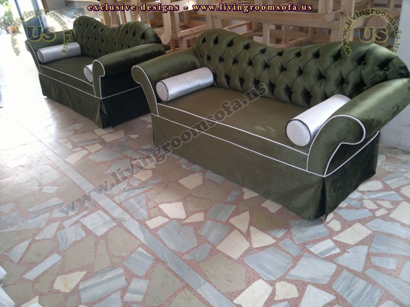 green velvet chesterfield couches
