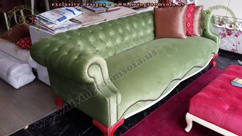 green velvet chesterfield sofa design