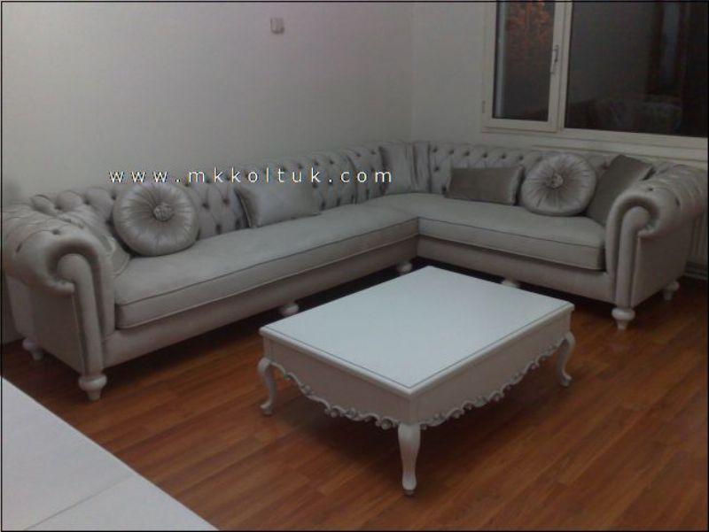 Velvet Chesterfield Style Corner Sofa Purple Modern   interior design