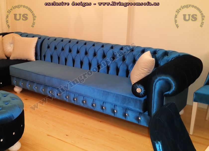 handmade chesterfield sofa blue design