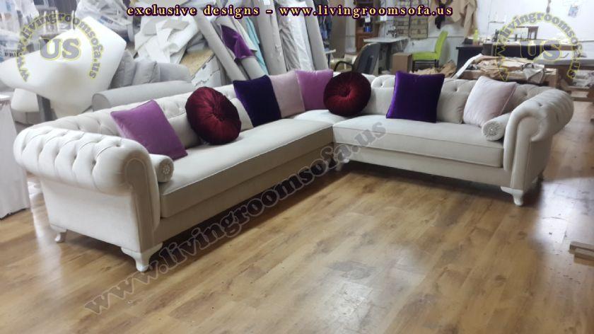 Velvet Chesterfield Style Corner Sofa Purple Modern ...