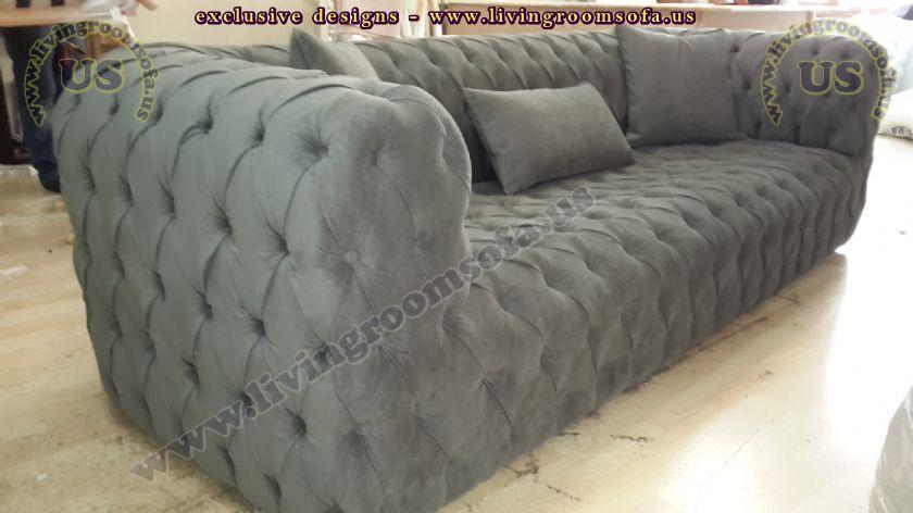 modern chesterfield sofa gray velvet