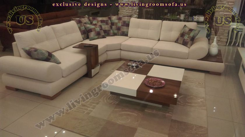 Modern corner sofa for livingroom design with side table for New drawing room sofa designs