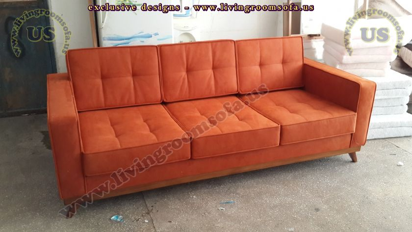 modern couch design orange fabric