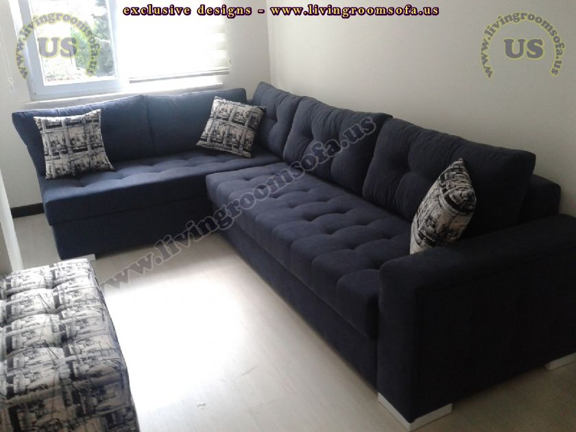modern navy blue sectional sofa l shaped design Exclusive Design