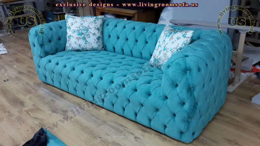 modern turquoise chesterfield sofa