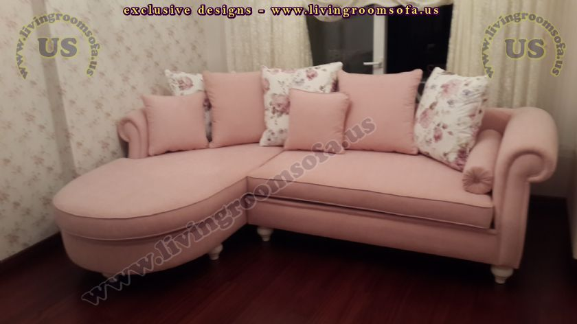 pink fabric modern l shaped sofa design