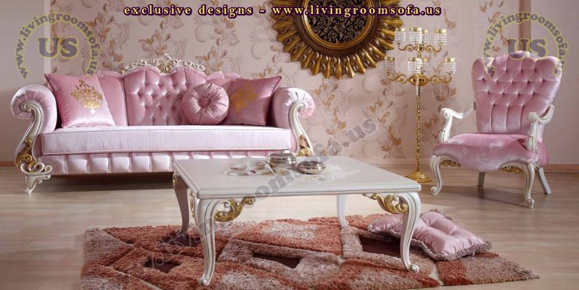 Pink Velvet Classical Sofa Set Design Idea