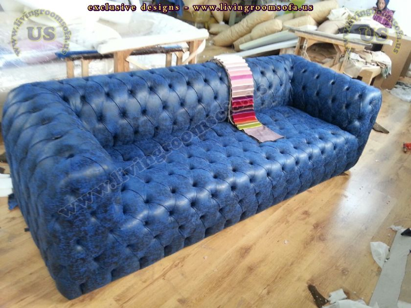 quilted blue chesterfield sofa blue