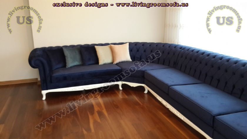 quilter l shaped sofa blue