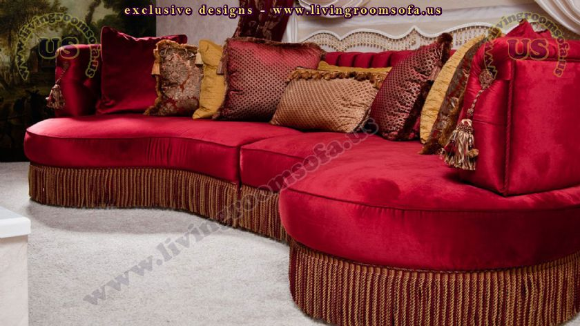 red avatgarde c shaped sofa design idea