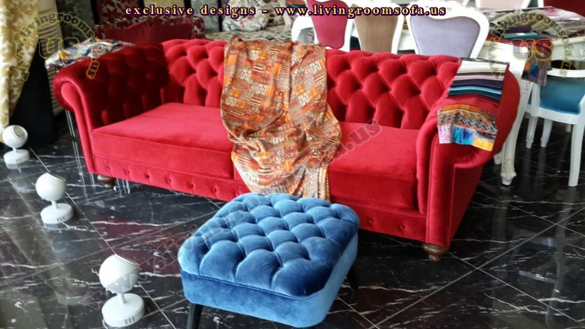 red velvet chesterfield couch