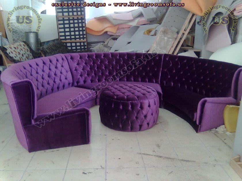 rounded chesterfield sofa design idea purple