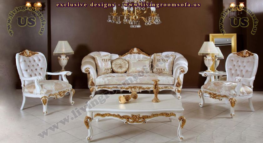 shiny avantgarde classic sofa set carved