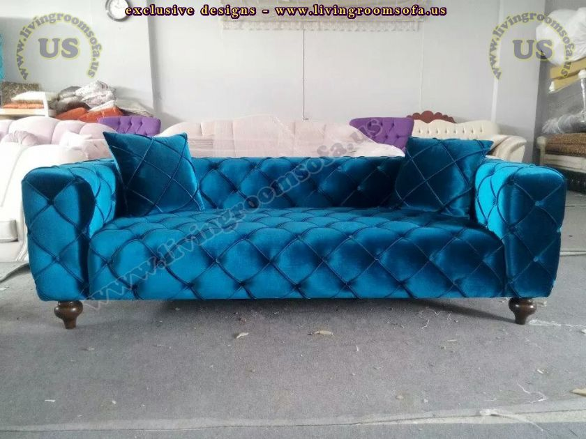 shiny blue velvet chesterfield sofa new design