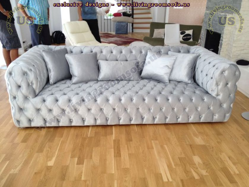 shiny grey velvet couch design