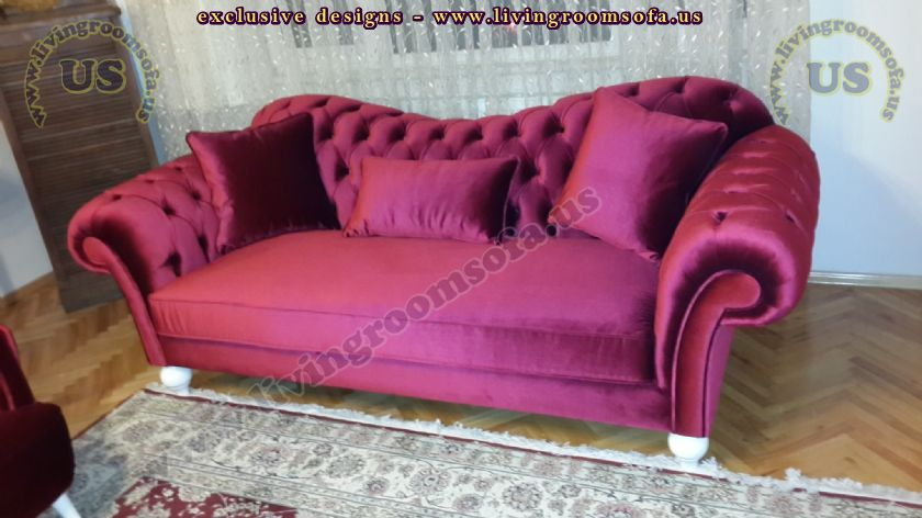 shiny maroon velvet chesterfield couches