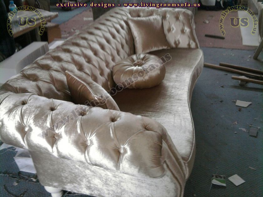 silver velvet avantgarde sofa design idea
