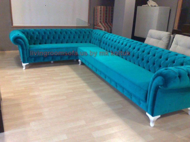 Velvet Chesterfield Style Corner Sofa Purple Modern