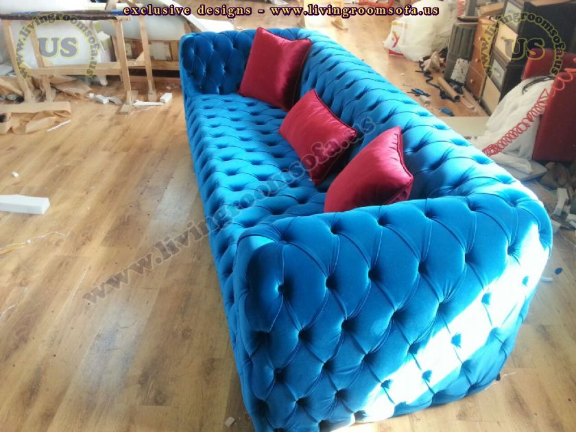 velvet blue chesterfield sofa