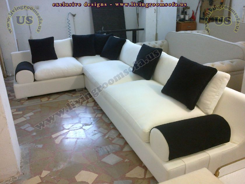 white l shaped corner sofa living room design