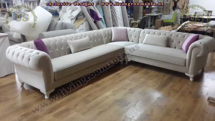 White Velvet Corner Design Chesterfield Sofa